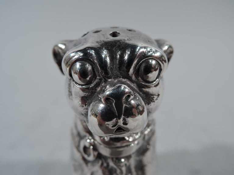 Pair of Dominick & Haff Sterling Silver Salt and Pepper Pug Dog Shakers In Excellent Condition For Sale In New York, NY