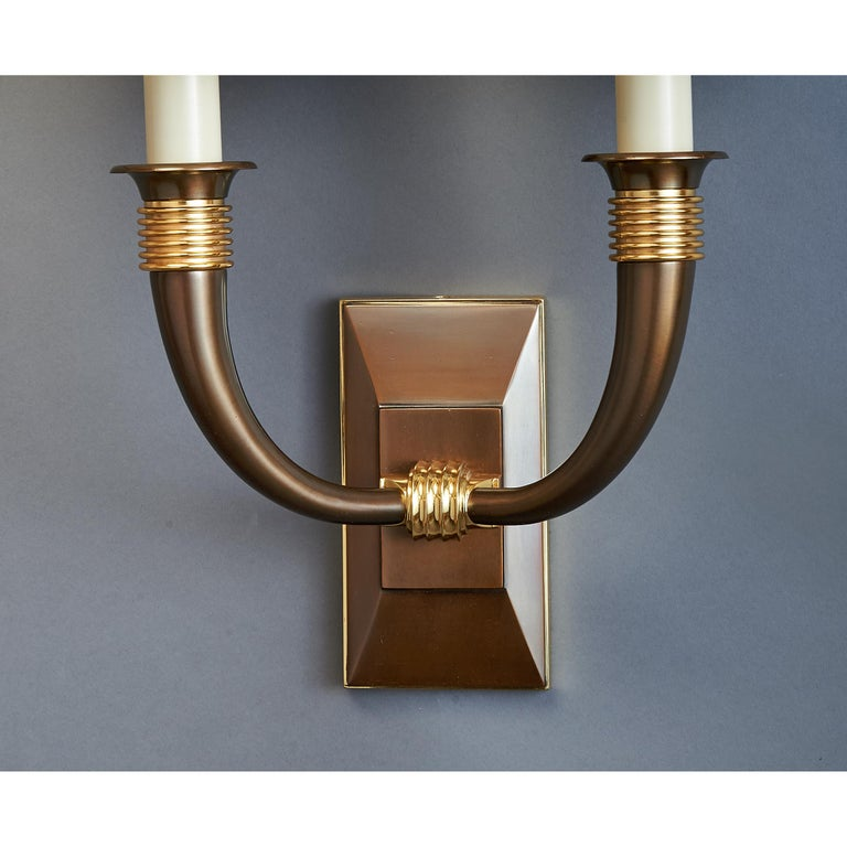 Mid-Century Modern Pair of Dominique Bronze Sconces, France, 1940s For Sale