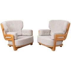 Pair of 'Dominique' Lounge Chairs by Guillerme et Chambron, Votre Maison