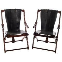 Pair of Don S. Shoemaker Sling Folding Chairs in Cueramo Wood and Black Leather