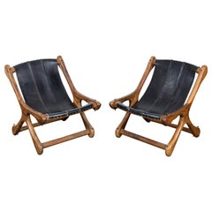 Pair of Don Shoemaker Solid Rosewood Sling Chairs in Original Black Leather