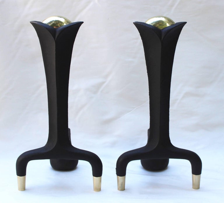 American Pair of Donald Deskey Andirons For Sale