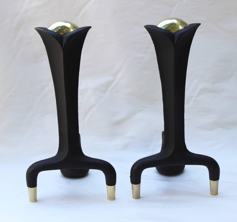 Pair of Donald Deskey Andirons In Excellent Condition For Sale In East Hampton, NY