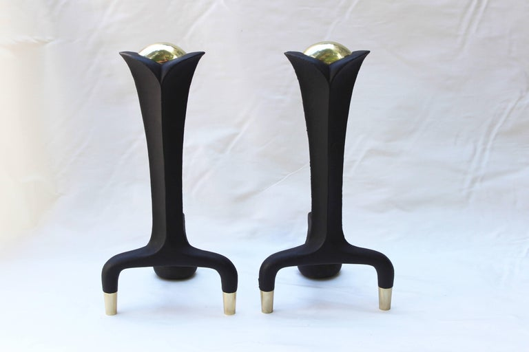 Mid-20th Century Pair of Donald Deskey Andirons For Sale