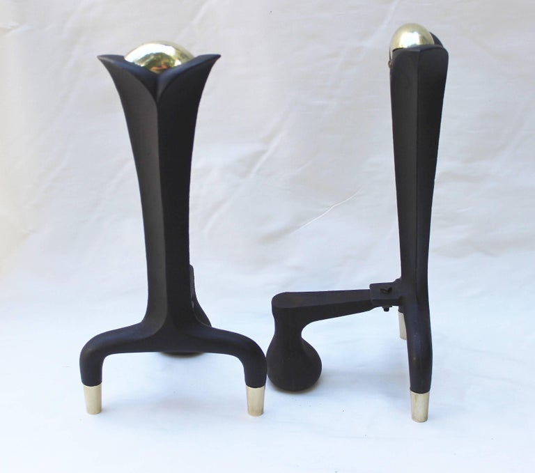 Iron Pair of Donald Deskey Andirons For Sale