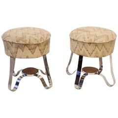 Pair of Donald Deskey Style Machine Age Stools or Poufs with Older Upholstery