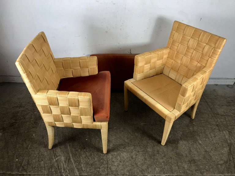 Leather Pair of Donghia 'Block Island' Modernist Armchairs by John Hutton For Sale
