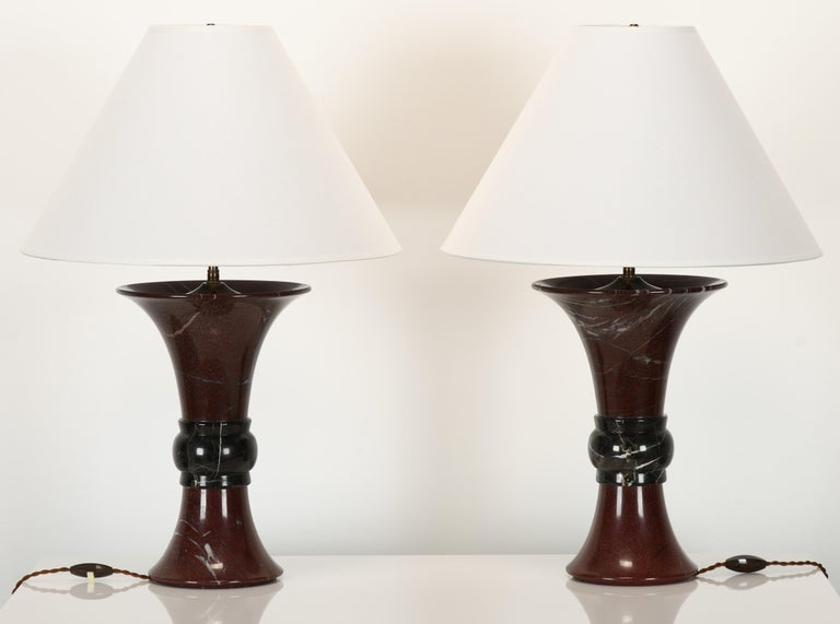 Mid-Century Modern Pair of Donghia Marble Lamps, 1990s For Sale