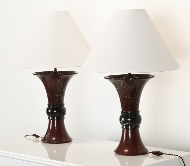 Italian Pair of Donghia Marble Lamps, 1990s For Sale