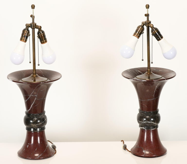 Late 20th Century Pair of Donghia Marble Lamps, 1990s For Sale
