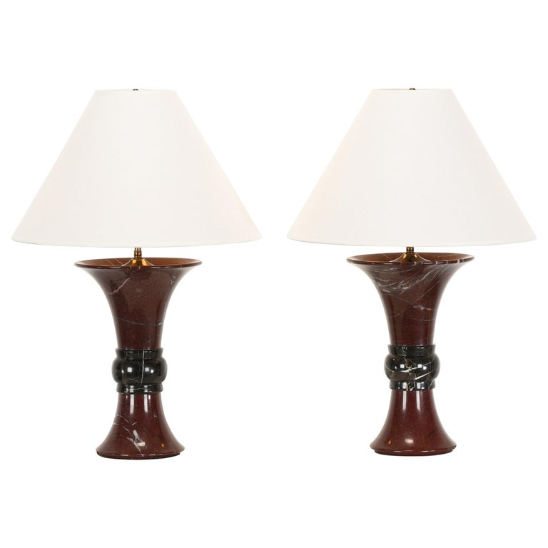 Pair of Donghia Marble Lamps, 1990s For Sale