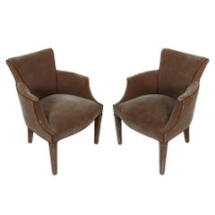 Pair of Donghia Style Mohair Armchairs