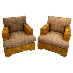 "Pair of Donghia Woven Rattan ""Block Island"" Club Chairs by John Hutton"