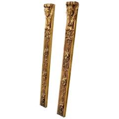Pair of Door Frame Decoration Mounts Columns Sculptures Gold Cherubs Motive
