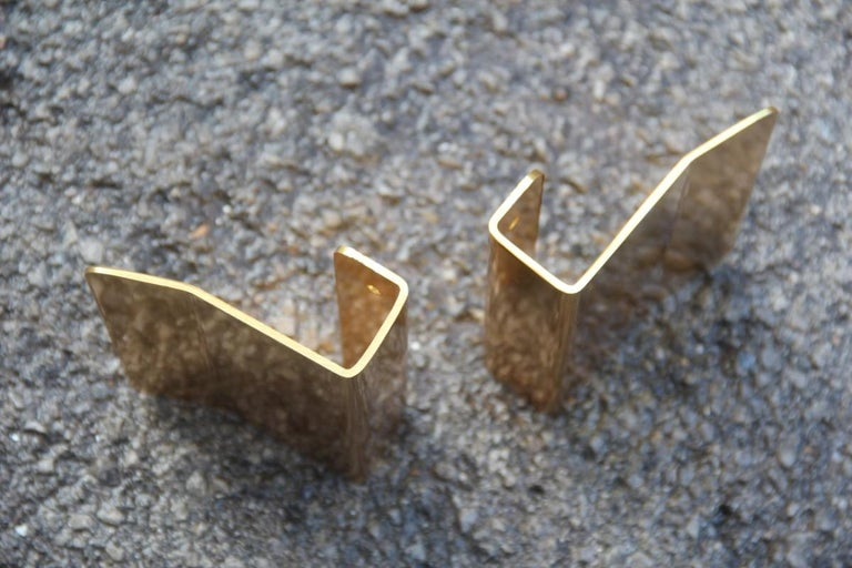 Italian Pair of Door Handles in Golden Aluminium with a very Modern Geometric Shape For Sale