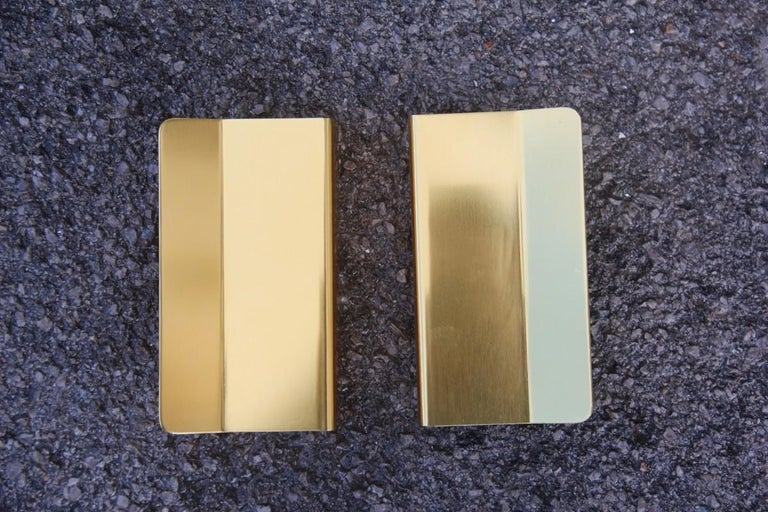 Mid-20th Century Pair of Door Handles in Golden Aluminium with a very Modern Geometric Shape For Sale