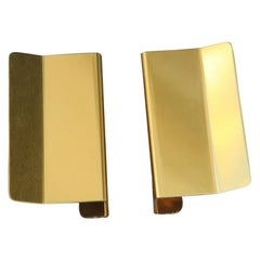 Pair of Door Handles in Golden Aluminium with a very Modern Geometric Shape