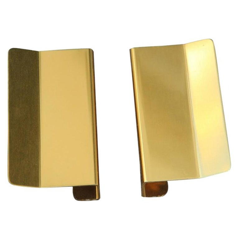 Pair of Door Handles in Golden Aluminium with a very Modern Geometric Shape For Sale