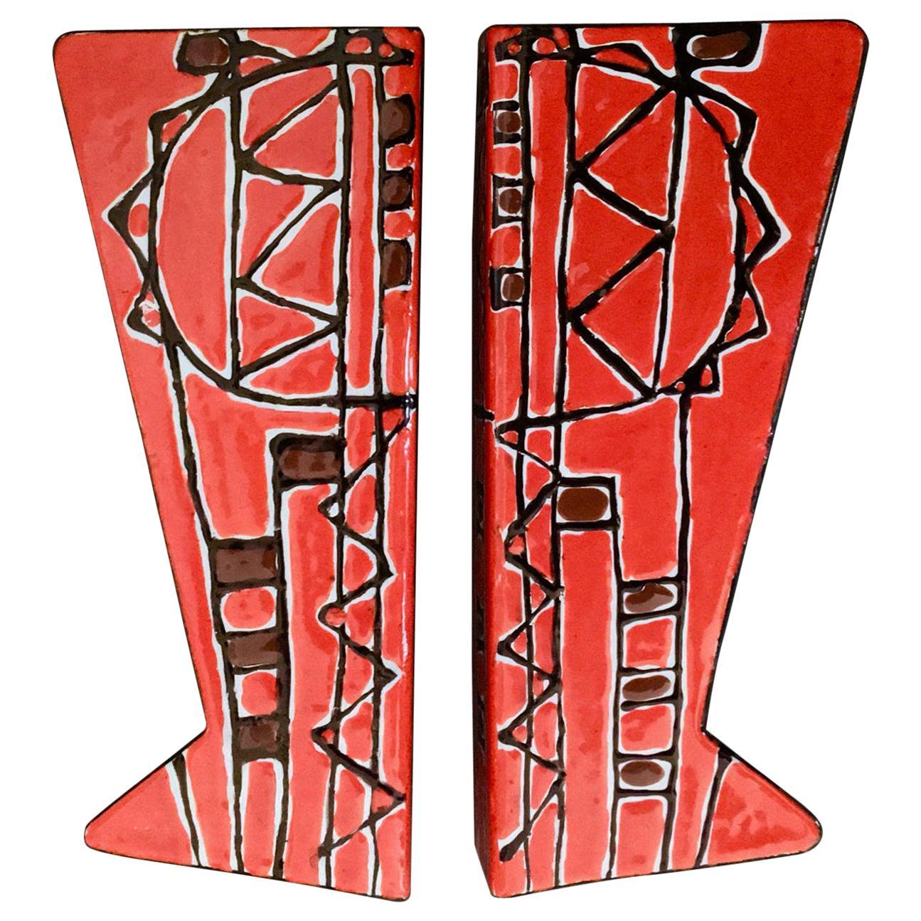 Pair of Door Handles in Red Enamel attr Siva Poggibonsi, Italy, Mid-20th Century