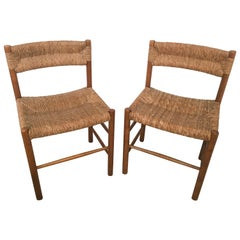 "Pair of ""Dordogne"" Wicker Chairs by Charlotte Perriand for Robert Sentou"