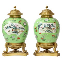 Pair of Dore Bronze Mounted Chinese Famille Rose Porcelain Vases