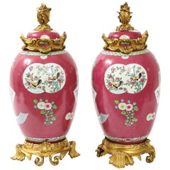 Pair of Doré Bronze Mounted Chinese Porcelain Rooster Red Ground Covered Jars