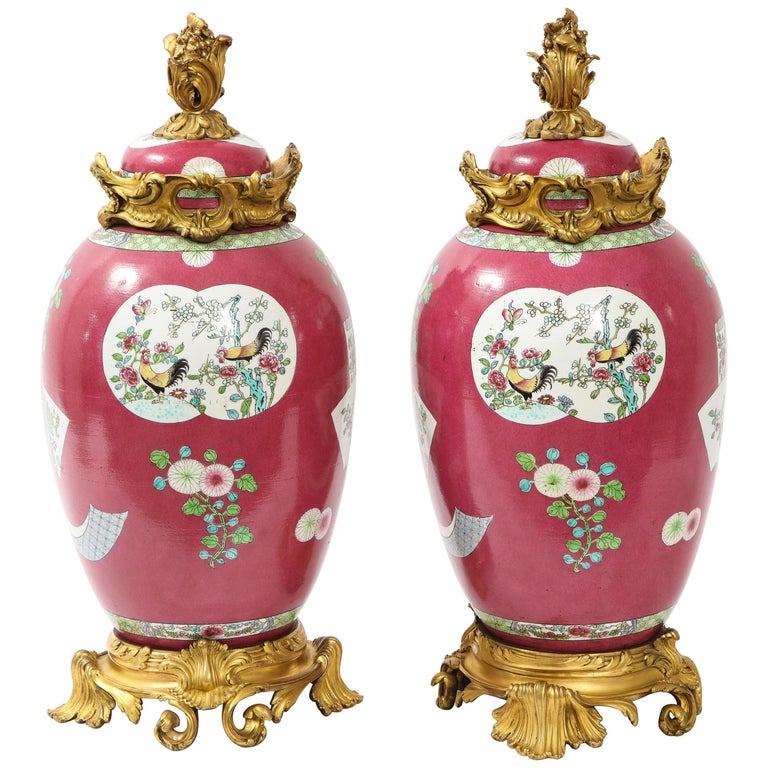 Pair of Doré Bronze Mounted Chinese Porcelain Rooster Red Ground Covered Jars For Sale