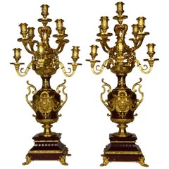 Pair of Doré Bronze Mtd Rouge Marble 9-Arm Candelabras, Signed by Barbedienne
