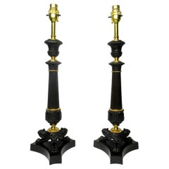 Pair of Doré Bronze Neoclassical Ormolu Table Candlestick Lamps 19th Century