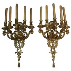 Impressive Doré Bronze Wall Sconces