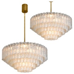 Pair of Doria Giant Ballroom Chandeliers Flush Mounts with 130 Blown Glass Tubes