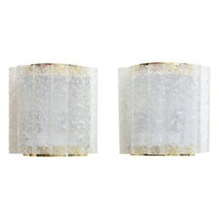 Pair of Doria Textured Ice Cube Pipe and Brass Wall Sconces Vintage