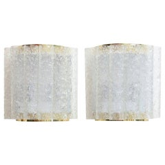 Pair of Doria Textured Ice Cube Pipe Glass and Brass Wall Sconces Vintage