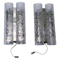 Pair of Doria Tube Wall Sconces in Chrome and Glass 1960s Germany