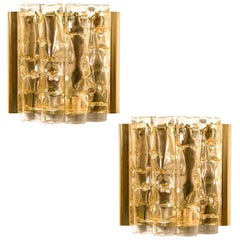 Pair of Doria Wall Lamps in Brass and Glass, 1960s