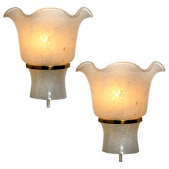 Pair of Doria Wall Sconces, Brass and Textured Glass, 1960s