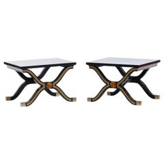 Pair of Dorothy Draper España Side Tables in Original Black and Gold Lacquer