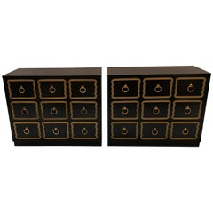 Pair of Dorothy Draper Style Black Lacquered Chests