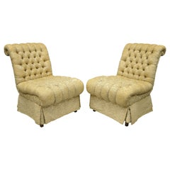 Pair of Dorothy Draper Style French Hollywood Regency Rolled Back Slipper Chairs