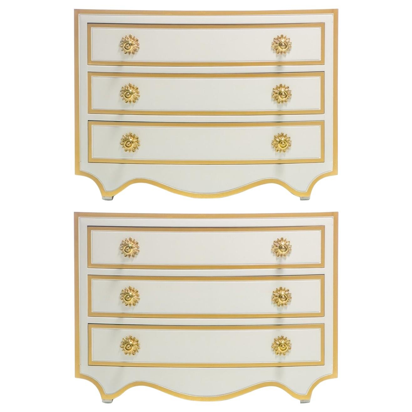 Pair of Dorothy Draper Viennese Collection Chests Lacquered in Ivory, circa 1963