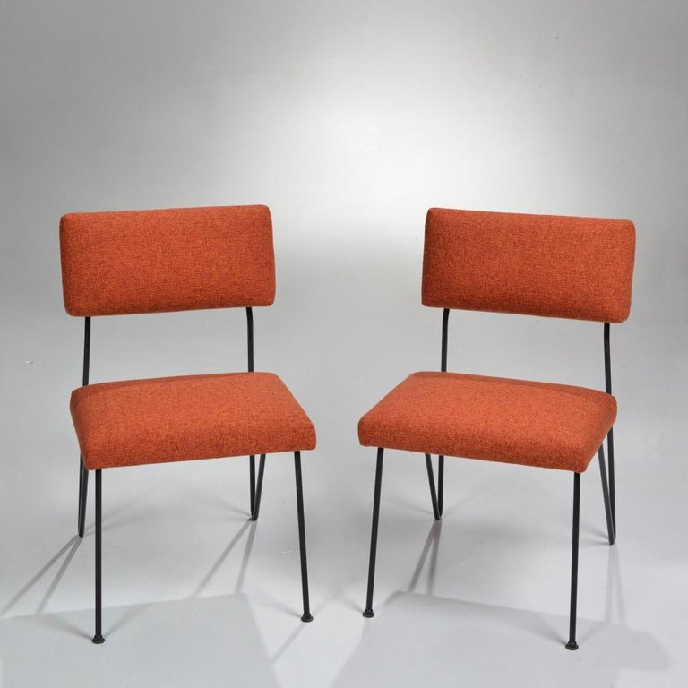 A pair of rare 1949, ergonomic, spring back chairs by noted California designer Dorothy Schindele. Fully restored.