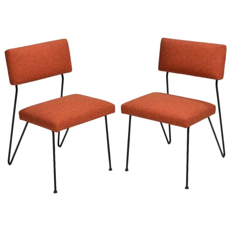 Rare Pair of Dorothy Schindele Hairpin Leg Chairs, Circa 1949 For Sale