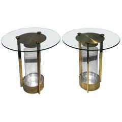 Pair of Dorothy Thorpe Modernist Art Deco Illumunated Brass Tables
