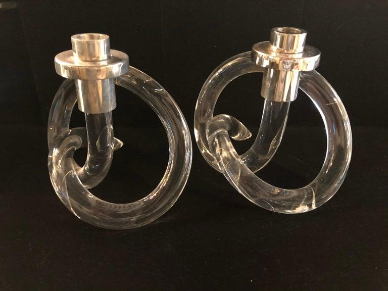 Molded Pair of Dorothy Thorpe Pretzel Lucite Candlesticks For Sale