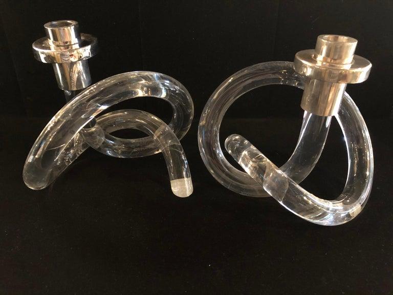 Chrome Pair of Dorothy Thorpe Pretzel Lucite Candlesticks For Sale