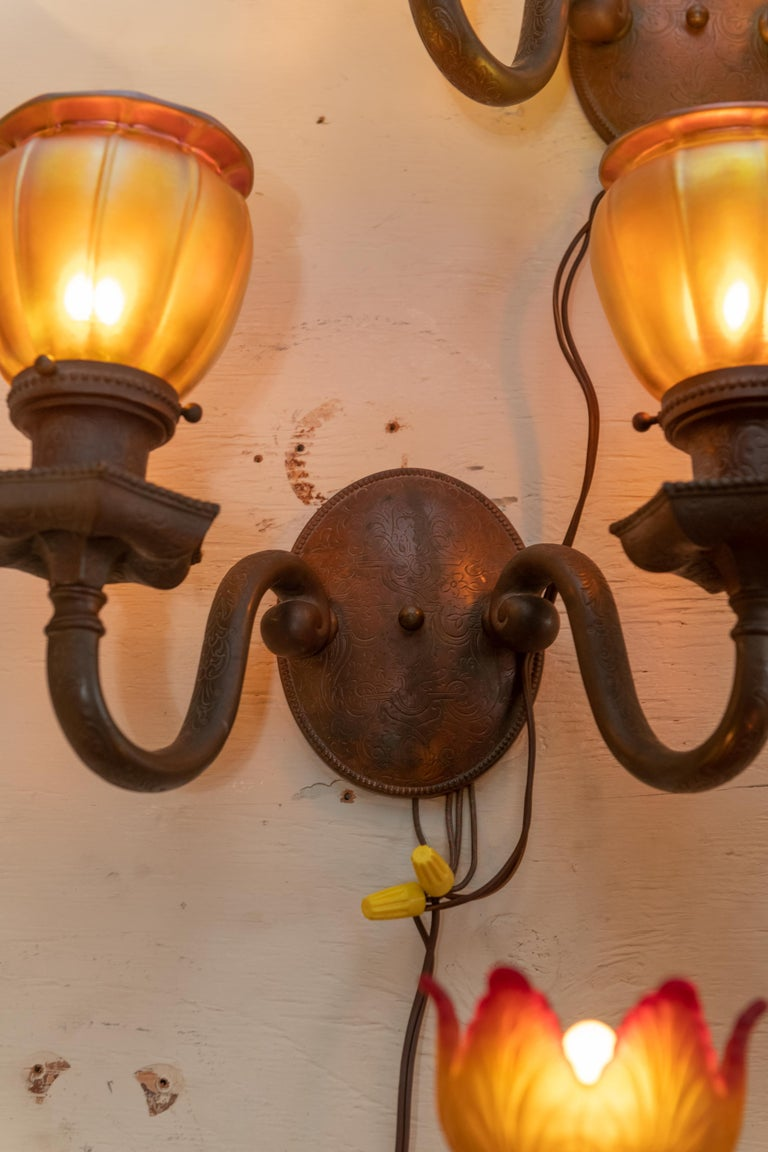 Late Victorian Double Arm Bronze Sconces with 4 Steuben Hand Blown Art Glass Shades 1910, Pair For Sale