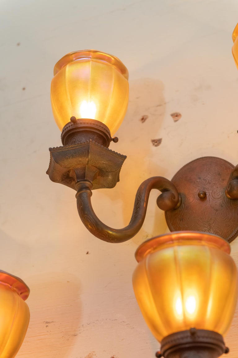 American Double Arm Bronze Sconces with 4 Steuben Hand Blown Art Glass Shades 1910, Pair For Sale