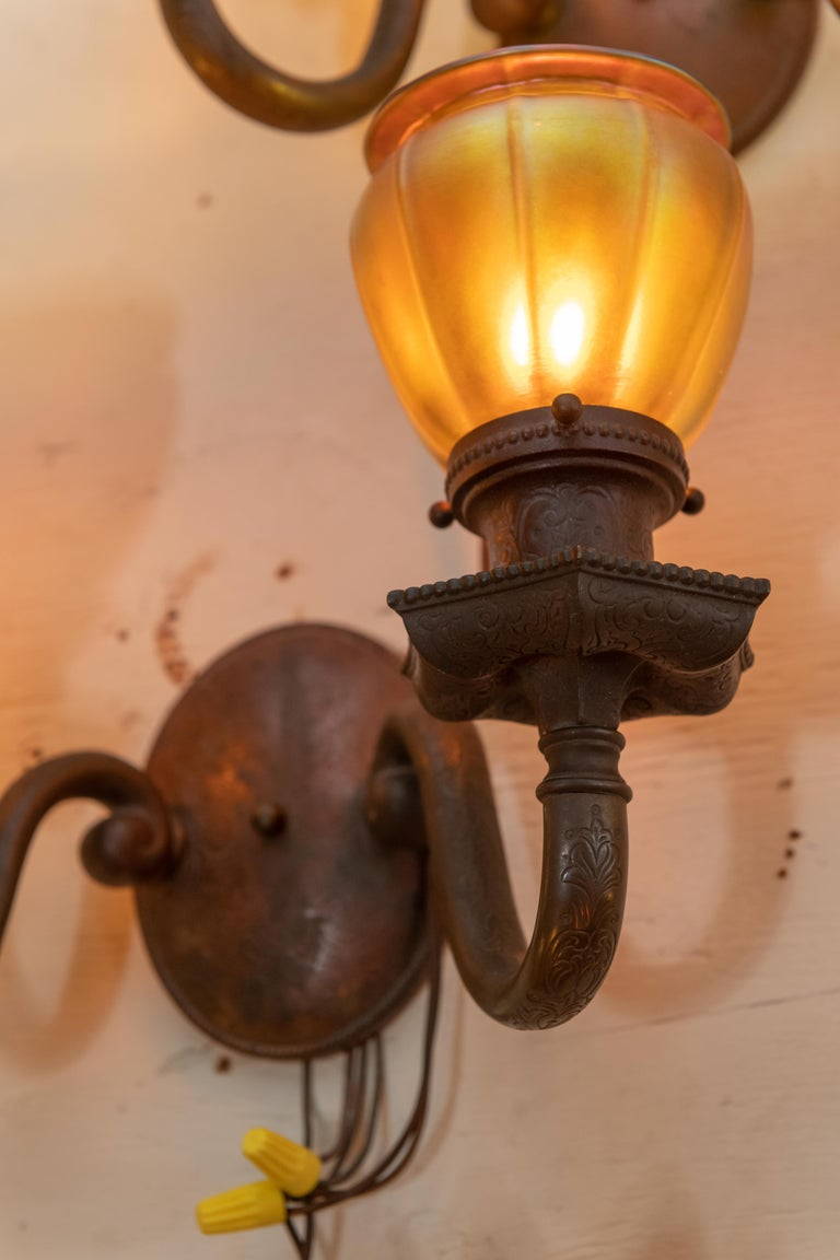 Hand-Crafted Double Arm Bronze Sconces with 4 Steuben Hand Blown Art Glass Shades 1910, Pair For Sale