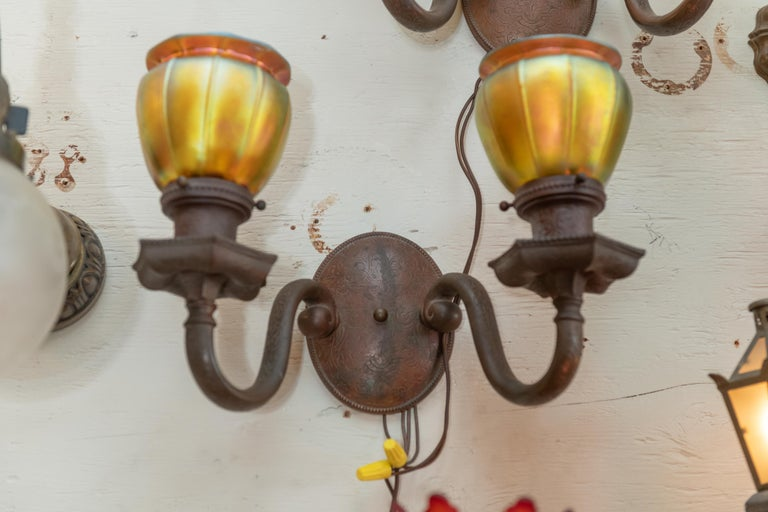 Double Arm Bronze Sconces with 4 Steuben Hand Blown Art Glass Shades 1910, Pair In Good Condition For Sale In Petaluma, CA