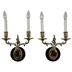 Pair of Double Arm Bronze Wall Sconces
